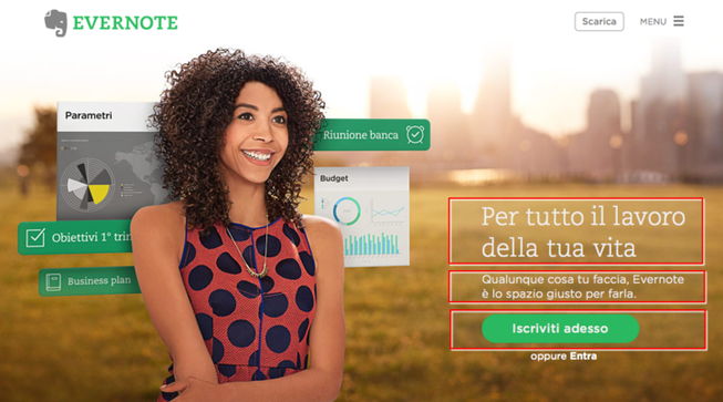 Esempio di headline, body copy e bottone di call to action.