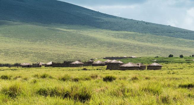Maasai Boma im Ngorongoro Hochland