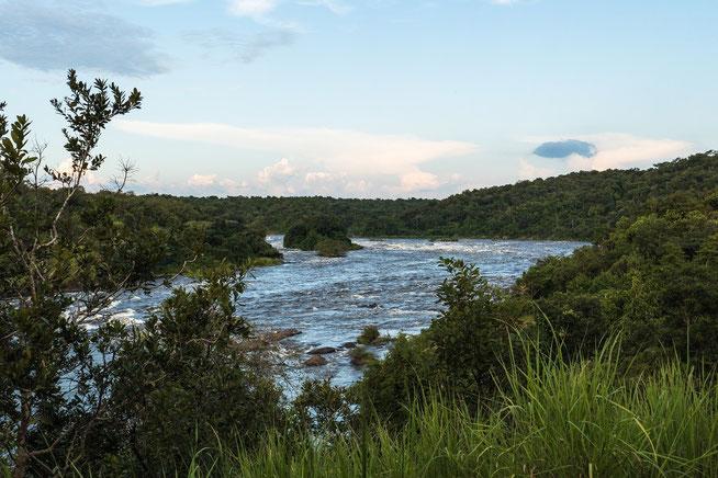 """Blick auf den Victoria Nile von der Campsite """"Top of the Falls"""""""