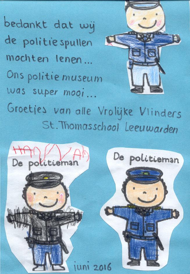 In juni 2016 mee mogen werken aan een politie-expositie op de St. Thomasschool in Leeuwarden. Van de kleuters deze tekening ontvangen. Geweldig. Harstikke leuk om te doen.