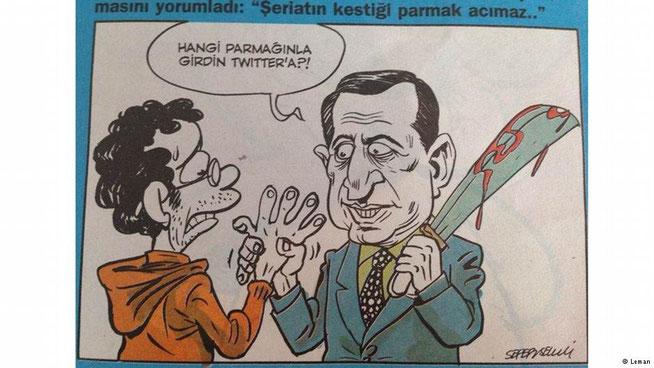 """Karikatur aus der Satire-Zeitschrift Leman: """"Mit welchem Finger hast du dich in Twitter eingeloggt?!"""""""