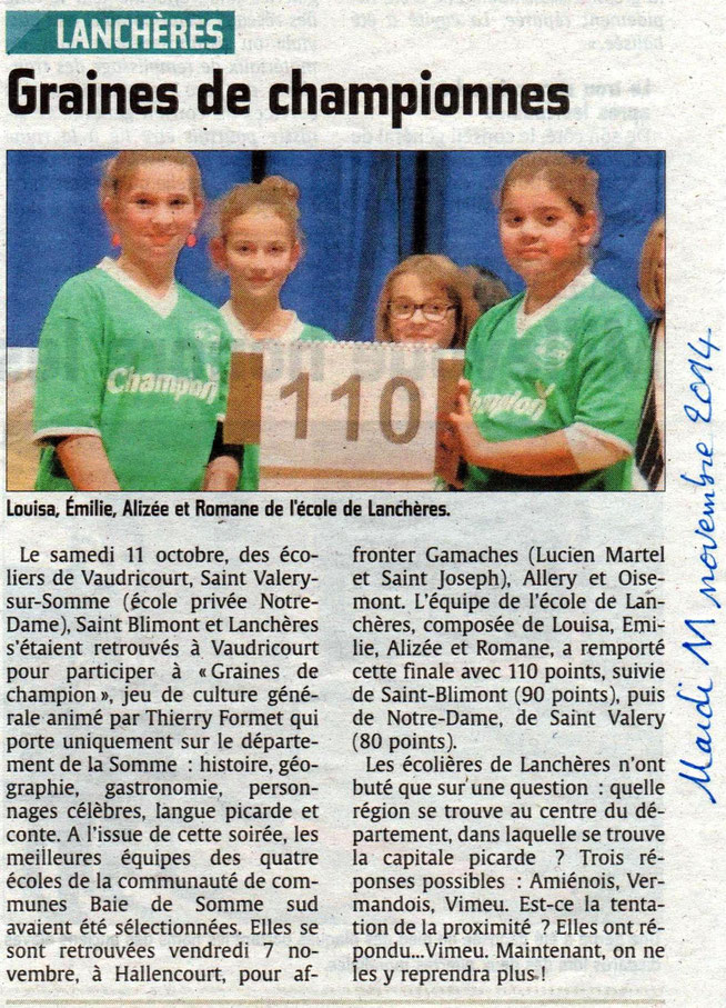 Finale Graines de Champions à Hallencourt - Article du Courrier Picard - Novembre 2014