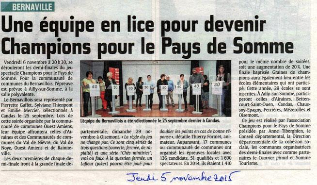 Demi finale à Ailly sur Somme - Article du Courrier Picard - Novembre 2015