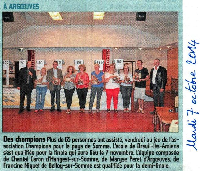 Soirée d'Argoeuves - Article du Courrier Picard - Octobre 2014