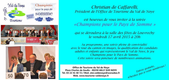 Invitation de l'Office de Tourisme du Val de Noye à la soirée locale de Louvrechy - Avril 2015