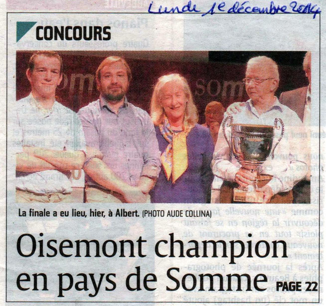 Finale d'Albert - Article du Courrier Picard page 1 - Décembre 2014