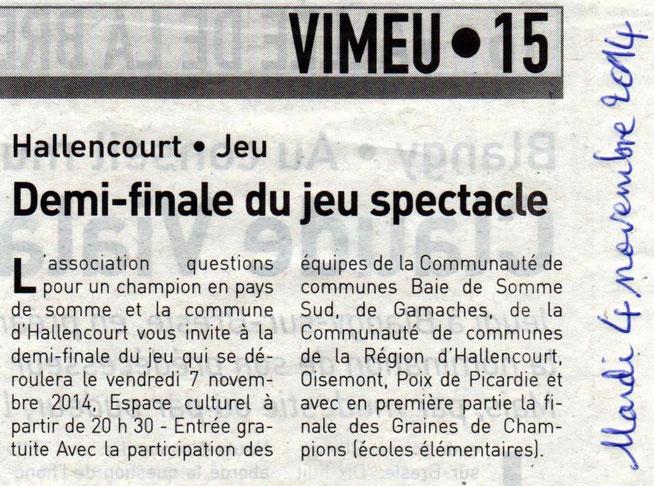 Demi-finale Hallencourt - Article de L'Eclaireur du Vimeu - Novembre 2014