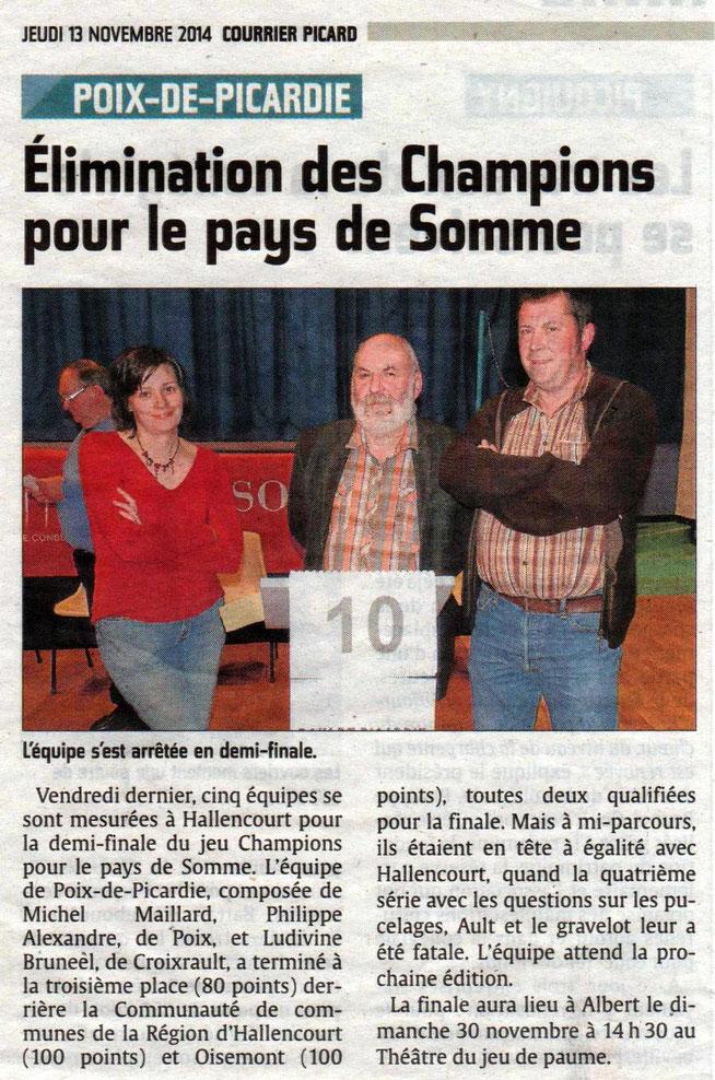 Demi finale à Hallencourt - Article du Courrier Picard - Novembre 2014