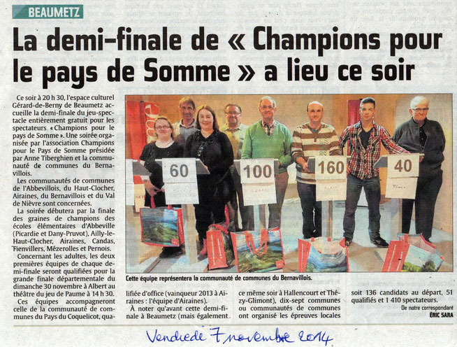 Demi-finale de Beaumetz - Article du Courrier Picard - Novembre 2014