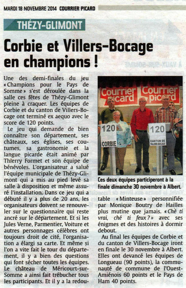 Compte-rendu demi finale de Thézy - Article du Courrier Picard - Novembre 2014