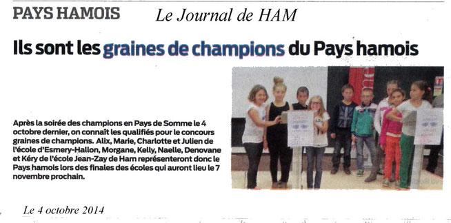 Soirée de Ham - Article du Journal de Ham - Octobre 2014