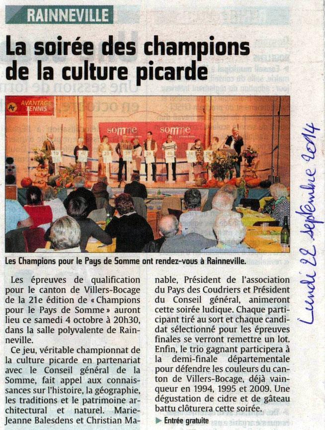Soirée de Rainneville - Article du Courrier Picard - Octobre 2014