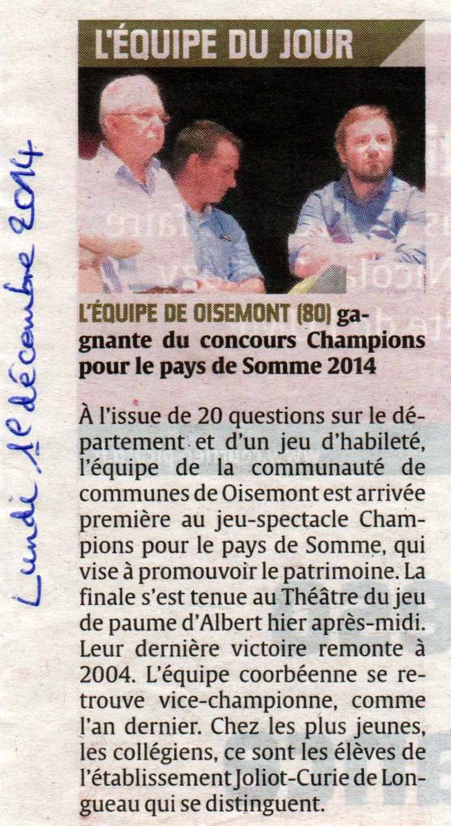 Finale d'Albert - Article du Courrier Picard page 2 - Décembre 2014