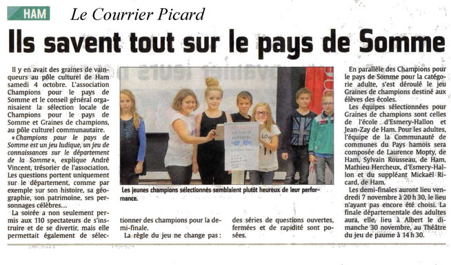 Soirée de Ham - Article du Courrier Picard - Octobre 2014