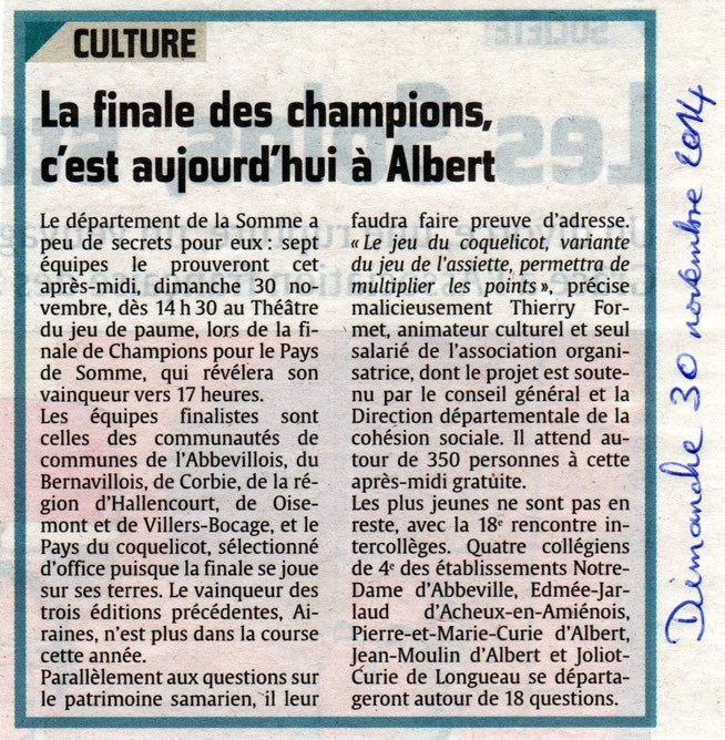 Finale d'Albert - Article du Courrier Picard - Novembre 2014