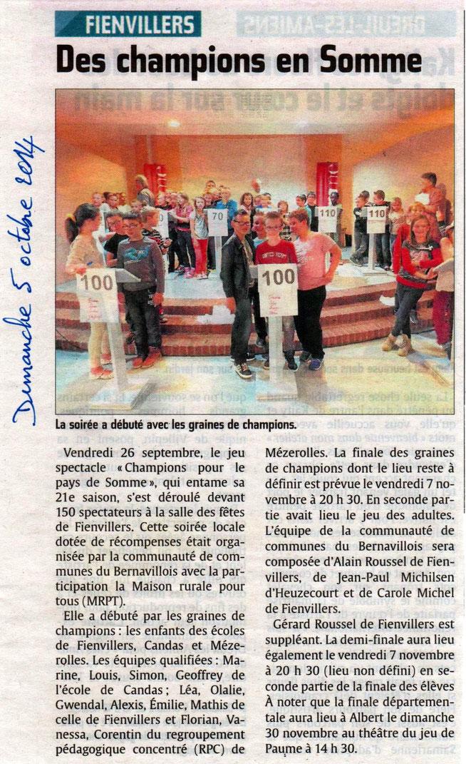 Soirée de Fienvillers - Article du Courrier Picard - Octobre 2014