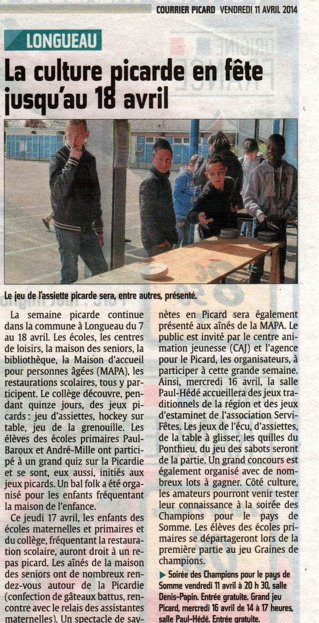 Soirée de Longueau - Article du Courrier Picard - Avril 2014