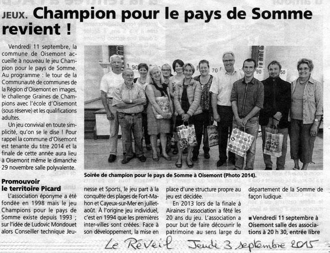 Soirée de Oisemont - Article du Réveil - Septembre 2015