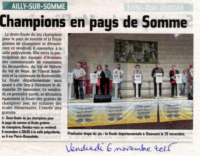 Demi-finale à Ailly sur Somme - Article du Courrier Picard - Novembre 2015