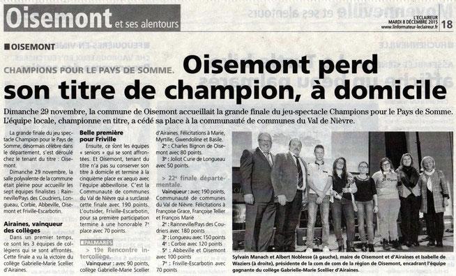 Finale de Oisemont - Article de L'Eclaireur du Vimeu - Décembre 2015