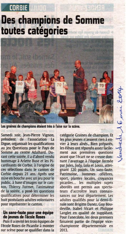 Soirée de Corbie - Article du Courrier Picard - Mai 2014