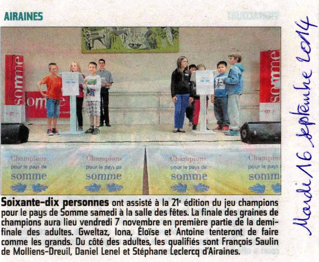 Soirée d'Airaines - Article du Courrier Picard - Septembre 2014