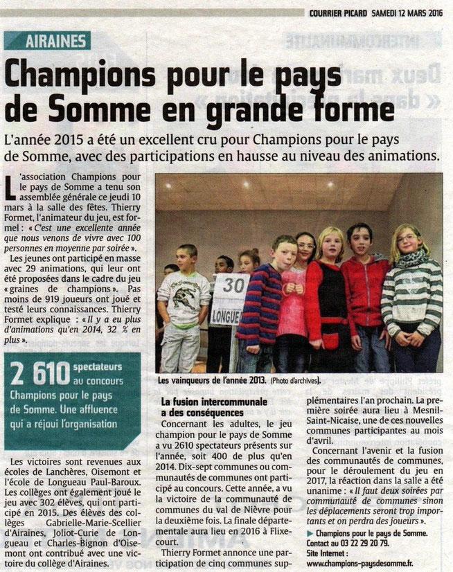 Assemblée générale d'Airaines - Article du Courrier Picard - Mars 2016
