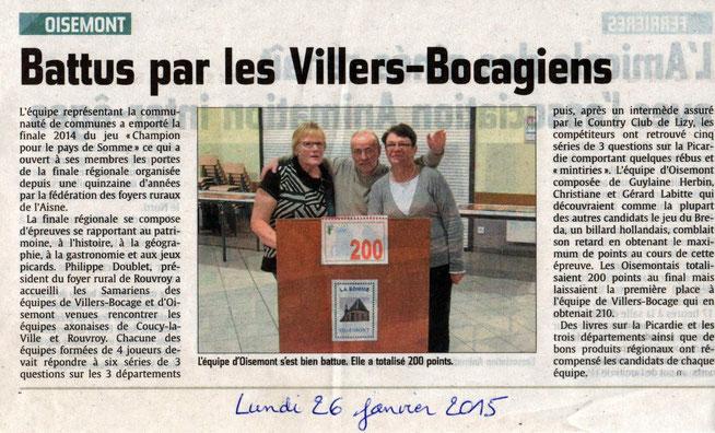 Finale régionale Rouvroy (02) - Article du Courrier Picard - Janvier 2015