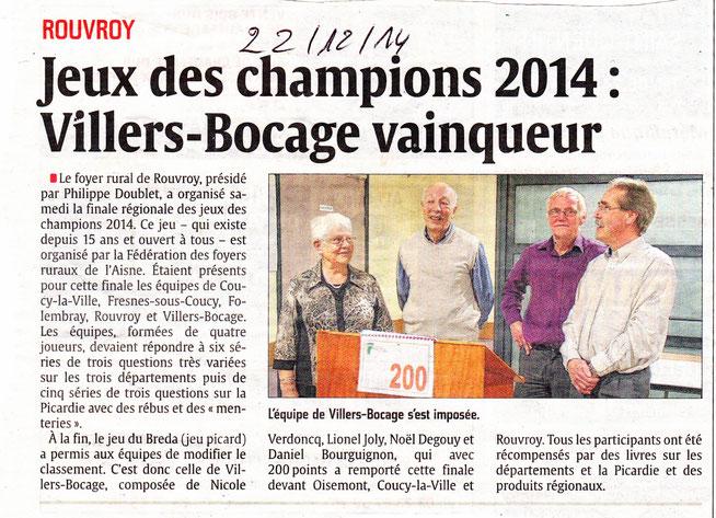 Finale régionale Rouvroy (02) - Article de l'Aisne Nouvelle - Décembre 2014