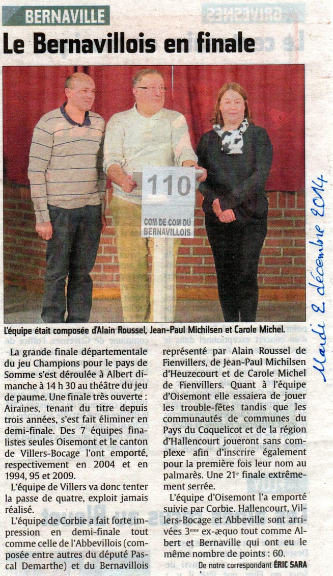 Finale d'Albert - Article du Courrier Picard - Décembre 2014