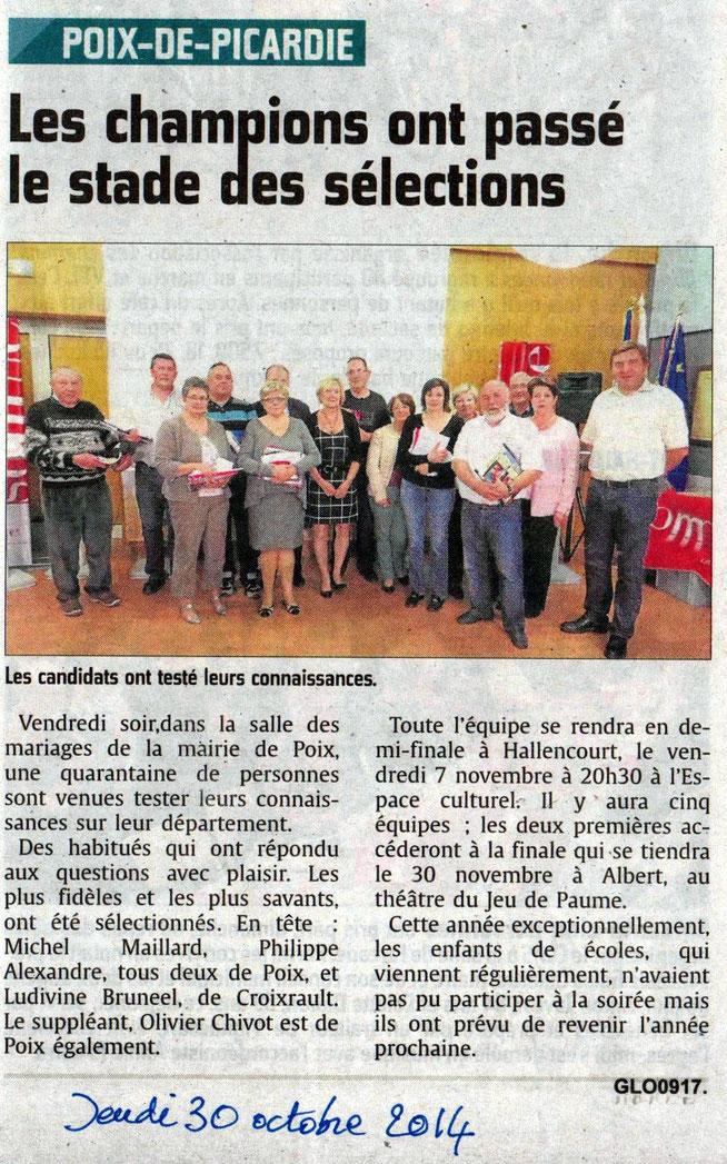 Soirée de Poix de Picardie - Article du Courrier Picard - Octobre 2014