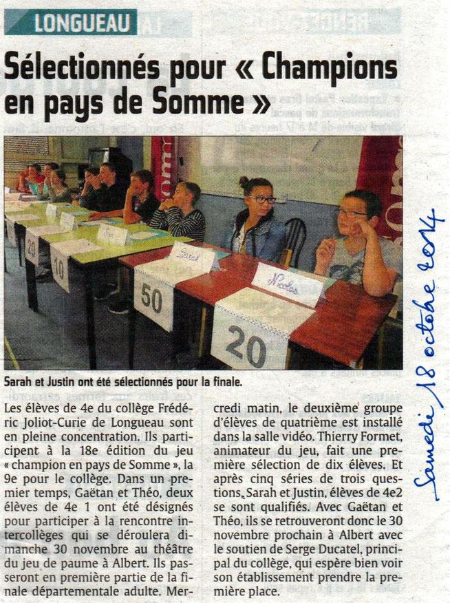 Sélection au collège de Longueau - Article du Courrier Picard - Octobre 2014