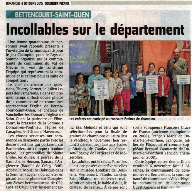 Soirée de Bettencourt Saint Ouen - Article du Courrier Picard - Octobre 2015