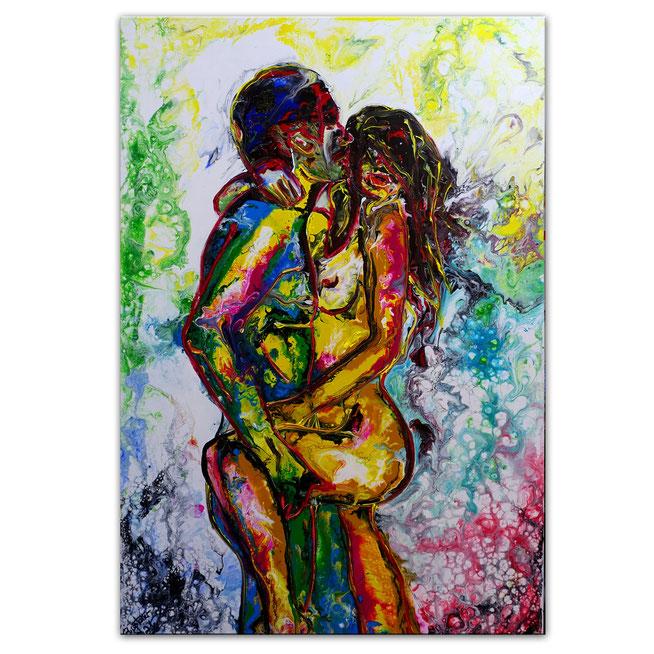 Begierde erotische Malerei Liebespaar gemalt Unikat Original Leinwandbild Acryl 92x73