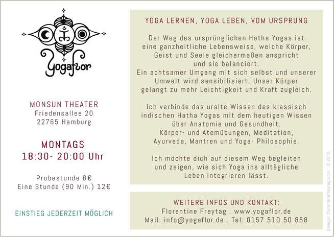 YOGAFLOR FLYER, Florentine Freytag- Hatha Yoga in Altona / Ottensen