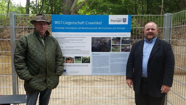 11. Juni 2015 - Die Bürgermeister Heinz Bley (Crawinkel) und Thomas Reinhardt (Wölfis)