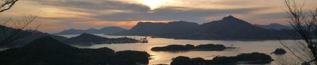因島からの瀬戸内海の夕日