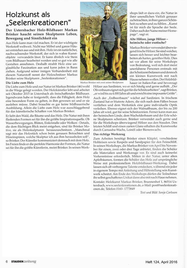 Pressebericht über meine Arbeit in der Staudenzeitung vom April 2016