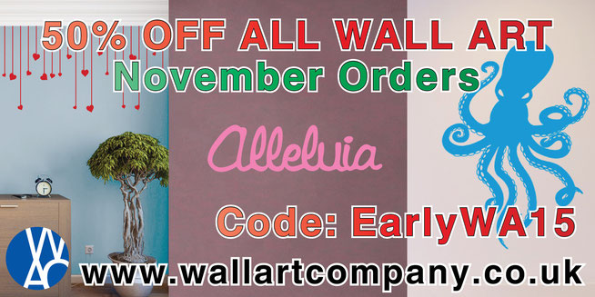 50% off all wall art stickers and decals for home decorating and interior design. Get your Christmas presents early this November to save!