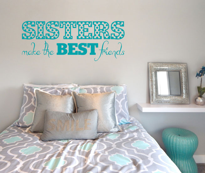 Sisters make the Best Friends polka-dot pattern decal sticker for DIY home decorating projects. From wallartcompany.co.uk