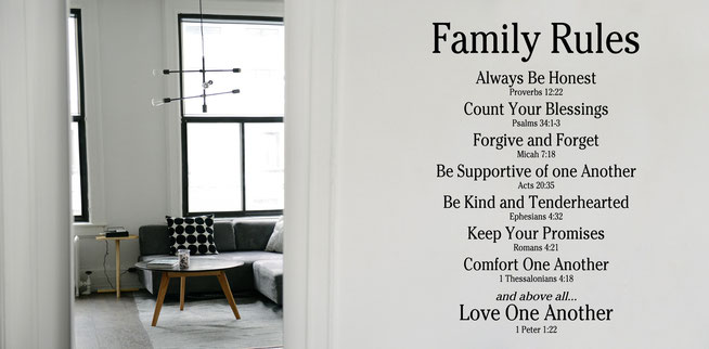 Family rules with teachings out of the bible wall art sticker. From wallartcompany.co.uk