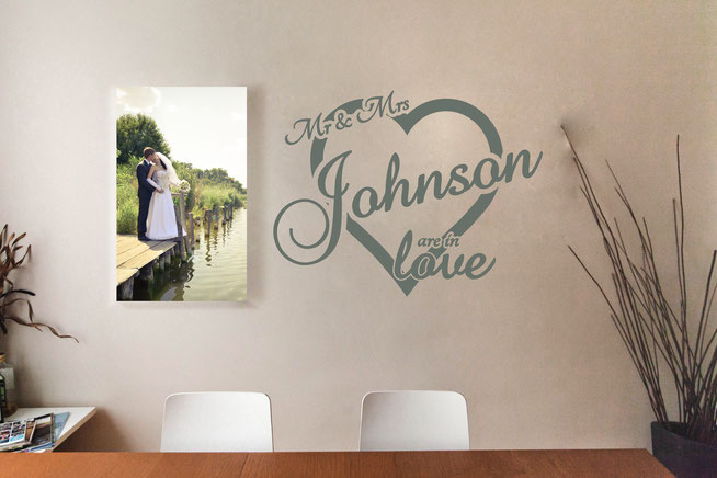 Mr & Mrs Johnson are in love vinyl wall art sticker. A perfect gift for a newly married couple on their wedding day. Add your own last name for personalised wall art that will wow your friends and remind you of your special day. From wallartcompany.co.uk