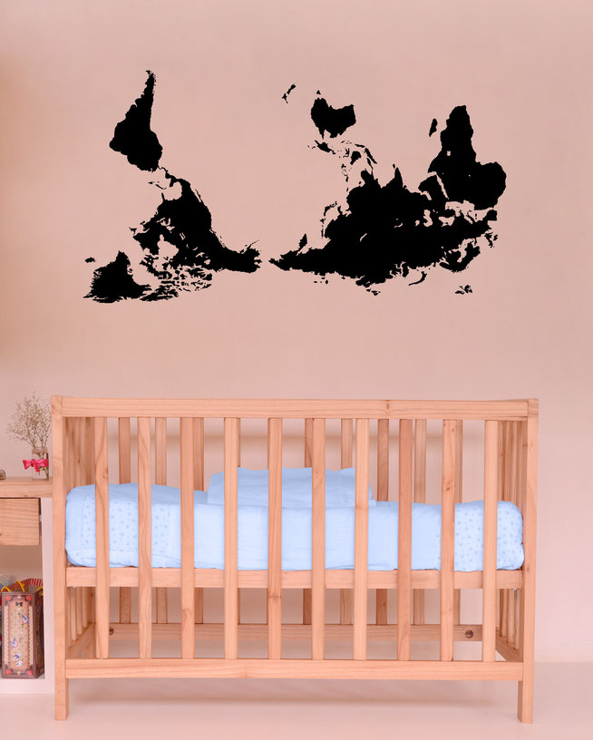 Southern World Map Vinyl decal for interior decorating. Comes in many colours so you can add your own designer edge to your walls.