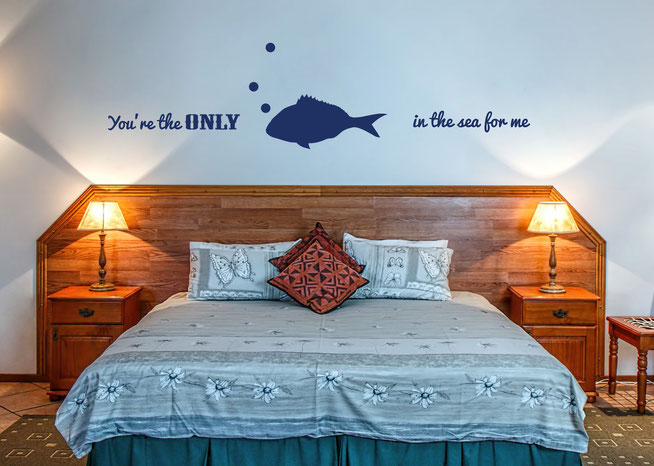 You're the only FISH in the sea for me vinyl wall art sticker. Cute love quote from www.wallartcompany.co.uk comes in loads of colours