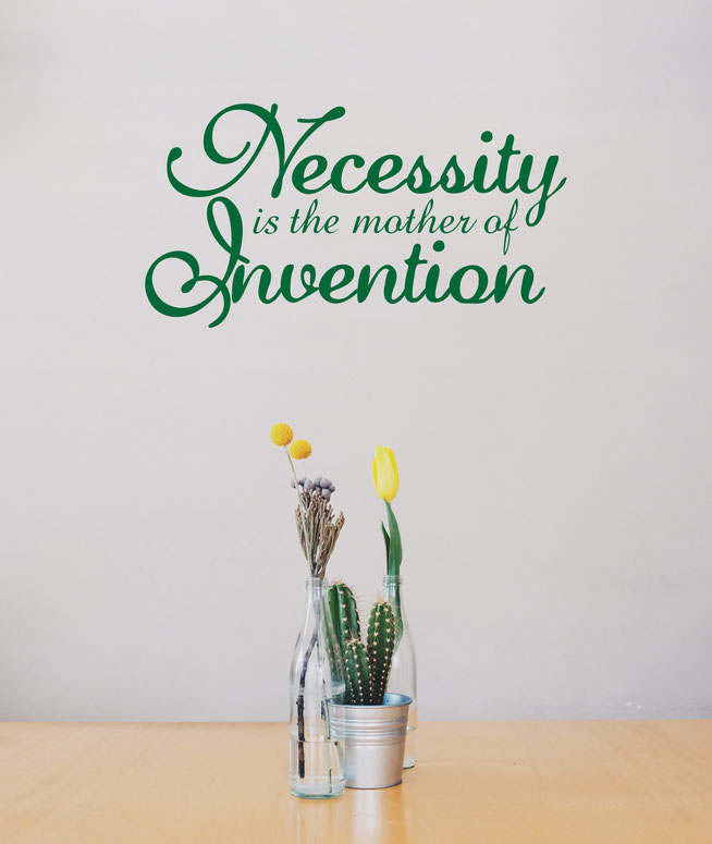 Necessity is the mother of Invention wall art stick quote. The font used is a script font. from www.wallartcompany.co.uk