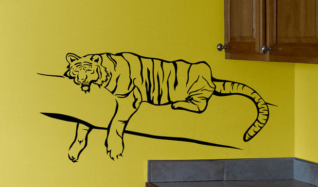 Vinyl wall art sticker decal sleeping Tiger, Easy to put up and comes in various colours of your choice to fit in with any interior decorating.