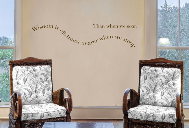 Wisdom is oft-times nearer when we stoop Than when we soar Edgar Allen Poe quote vinyl sticker. Easy to apply to walls and comes in many colours at wallartcompany.co.uk