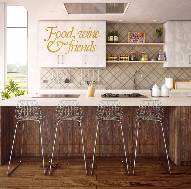 Food, wine and friends wall art quote sicker. Great for social occasions reminding you want is important.