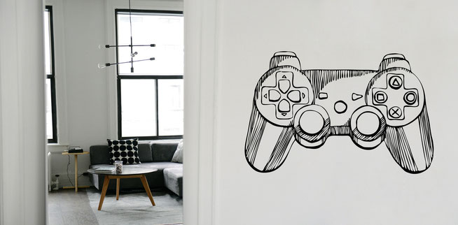 This wall art Hand drawn PlayStation game controller great for boy's bedrooms and retro gamers who love the ps2 Controller. From www.wallartcompany.co.uk