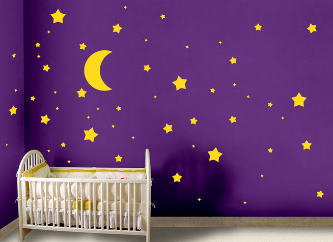 Stars and Moon vinyl stickers, great for nurseries walls, ceilings and children's bedrooms. Many colours available from wallartcompany.co.uk
